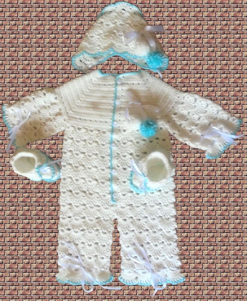 Комплект для новорожденного, описание, пример вязания 47