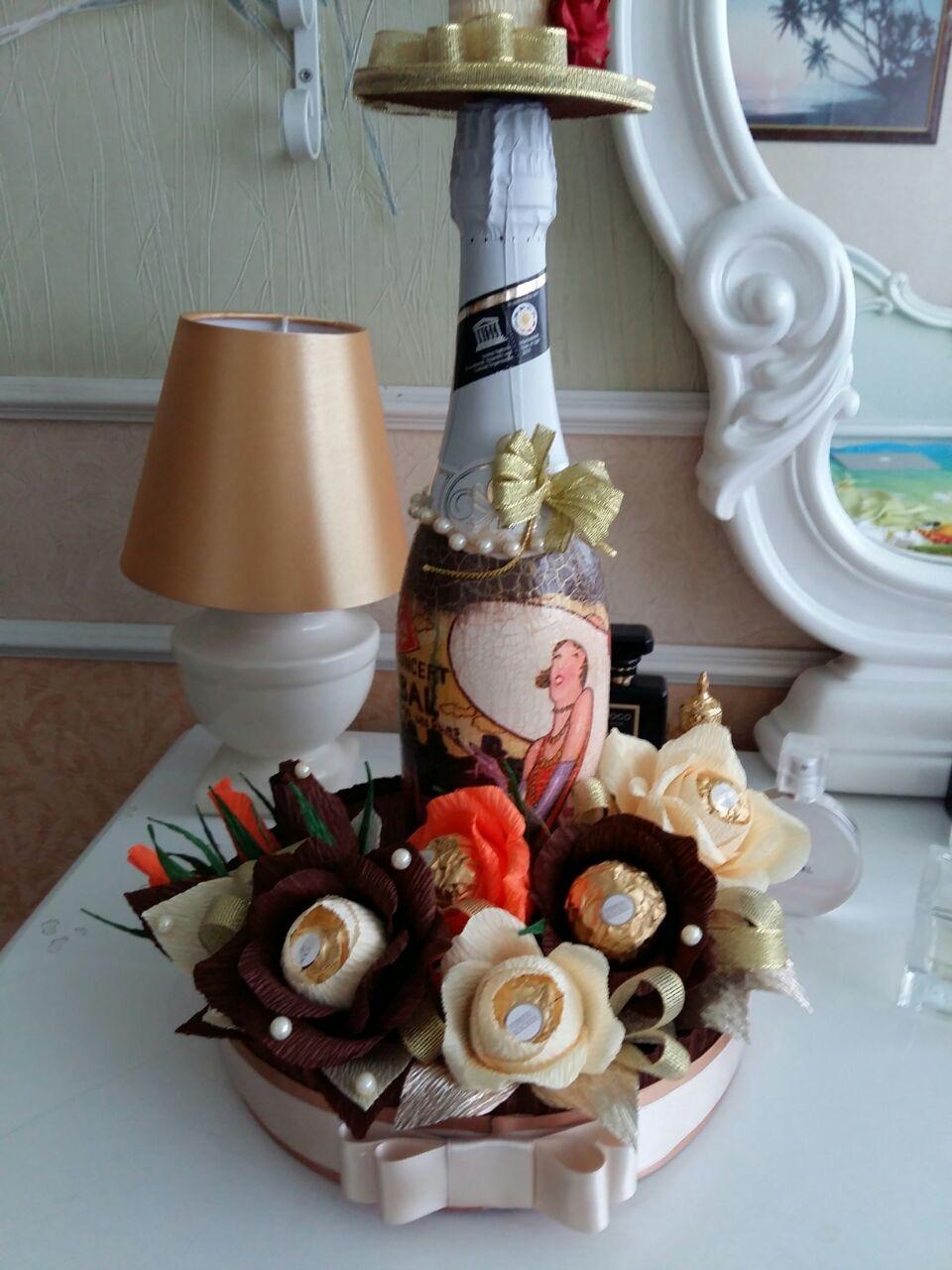 Букет из конфет и шампанского своими руками пошаговое фото для начинающих