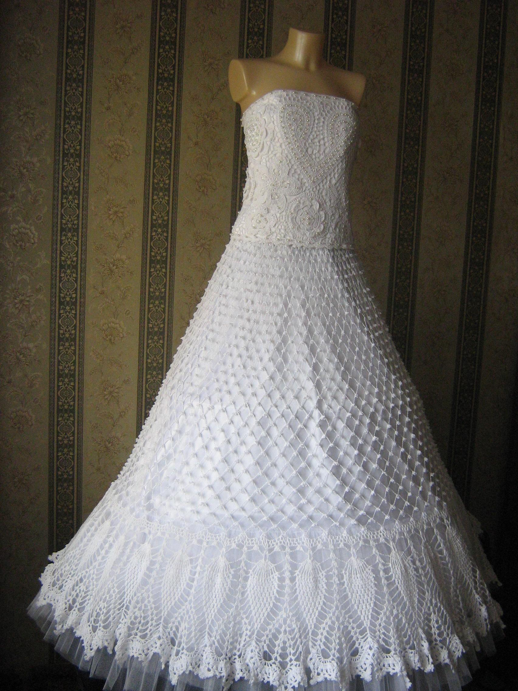 46565834ced Свадебное Платье Вязаное Крючком Фото
